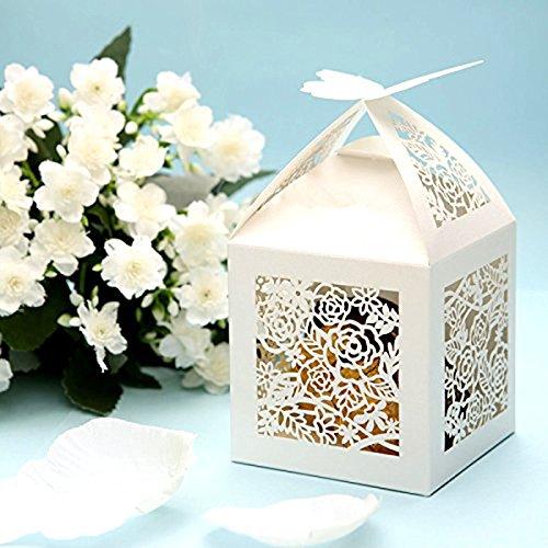 unsten Candy Box mit Bändern Bridal Shower Hochzeit Party Favors (weiß) (Zugunsten Candy)