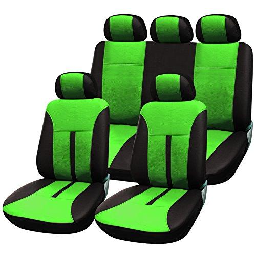WOLTU AS7288gn Schonbezüge für Auto Sitzbezüge Sitzschoner Abdeckung Auflage, Kunstleder, schwarz-grün