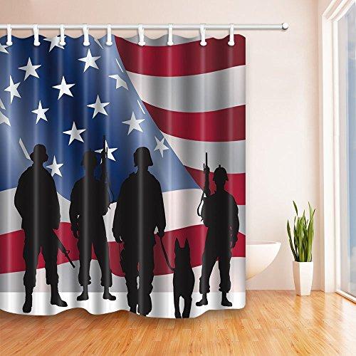 MMPTN Private militärische Hunde in die Flagge der Vereinigten Staaten 71X71 Zoll Mildew beständiger Polyester-Duschvorhang-Satz Fantastische Dekorationen Badvorhang- -