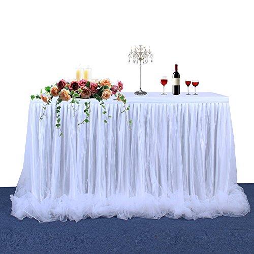 Jupe de table avec ruban piqué Etbotu, tulle élégant, décoration de table de mariage (tulle long), blanc, 2,7 m