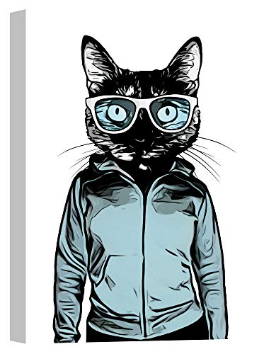 Cortesi Home Cool Cat Wandkunst, Canvas, blau, 18