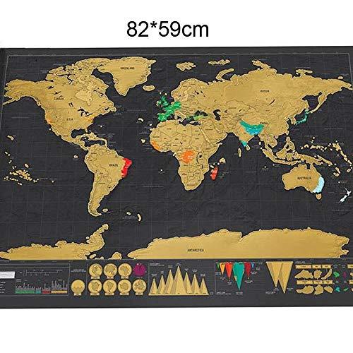 TMEET Deluxe Erase Black Weltkarte Scratch Off World Map Personalisierte Reise Scratch Für Map Room Home Decoration Wandaufkleber, 82X59Cm Schwarz