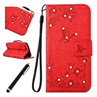 iPhone 6 Bling Case,iPhone 6s Leather Case,Beddouuk Luxury Elegant Bling Shiny Glitter Sparkling Rhinestone Diamond Floral Flower and Butterfly PU Leather Wallet Case Cover with Rope/Strap and Stand Feature Magnetic Closure for iPhone 6/6s 4.7Inch,Butterf