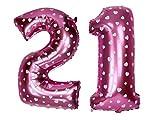 #8: Printed Pink Number Twenty One Foil Balloon 16