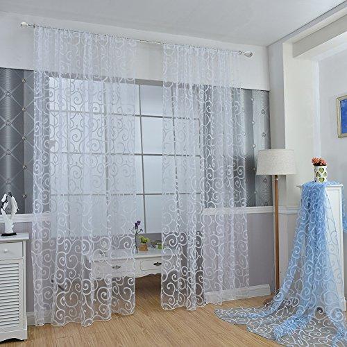 Juego de cortinas Fastar transparentes de gasa con motivo floral y cen