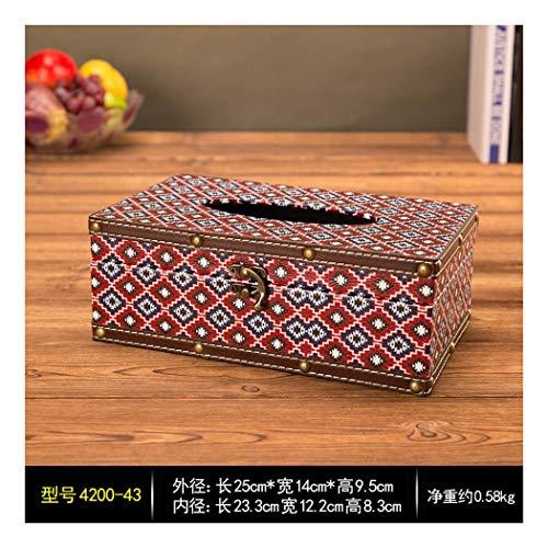 SHUCHANGLE Tissue Box Holder Vintage Holz Pu Leder Plaid Muster Papier Aufbewahrungsbox Desktop Papier Aufbewahrungsboxen Halter Für Home Office -