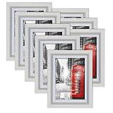 Umi. Essentials 8er weißer Bilderrahmen Set mit Passepartout für Bilder 13x18cm und ohne Passepartout für Bilder 15x20cm