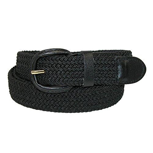CTM para hombre elástica trenzado hebilla de cinturón con cubiertos (Big & Tall disponible) - negro -
