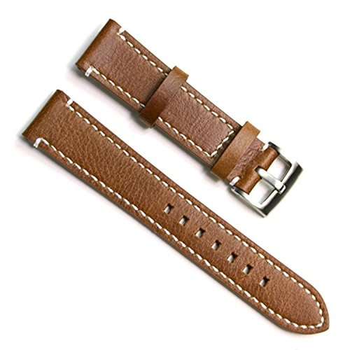 green-olive-21mm-handmade-vintage-cowhide-leather-watch-strap-watch-band-white-stitch-brown