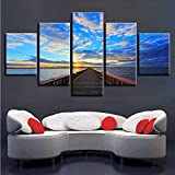 gwgdjk Modulare Canvas Picture Wall Art HD Stampa 5 Pezzi Ponte in Legno Conduce al Mare Dipinti Sunset Landscape Modern Decor Room-30X40/60/80Cm,Without Frame
