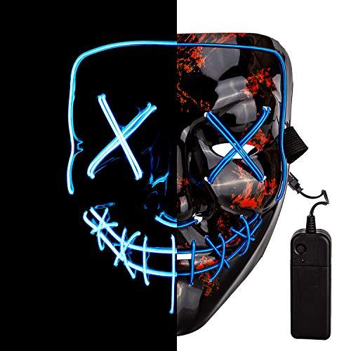Ei Kostüm Voll - SAVITA LED Maske Halloween Gruselige Maske LED Purge Maske für Cosplay Kostümparty Halloween Dekorationen Requisiten (Blau)