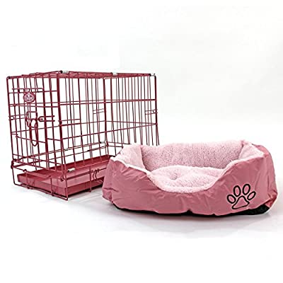 """Easipet 20"""" Pink Cage with Pink Fleece Dog Bed"""