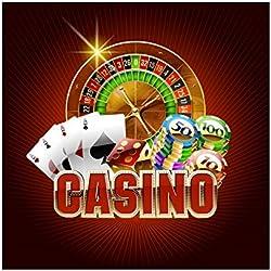 YongFoto 2x2m Vinyle Toile de Fond Studio Photo Casino à thème Roulette De Casino Cartes de Poker Jetons de Jeu Photographie Toile de Fond Photobooth Fond de Photo Studio Décors de Fête