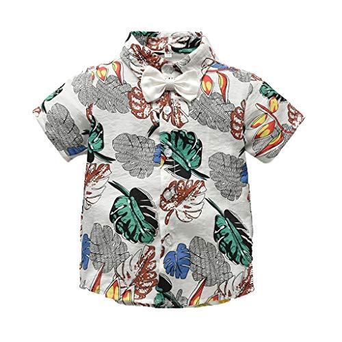 Zylione Jungen Shirt Kinder Baby Kurzarm Einfarbig Fliege BläTter Und BläTter Bedruckt Shirt Gentleman Shirt Strickjacke Kleidung -