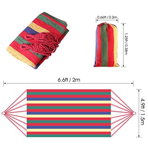 Enkeeo   Hamaca Colgante de Algodón para Jardín Camping (2 Cuerdas  Capacidad 220kg  200 x 150cm) Multicolor (200x150cm)