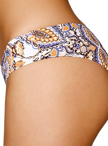 oodji Ultra Damen Bikinihose mit Aufdruck Violett (8355E)