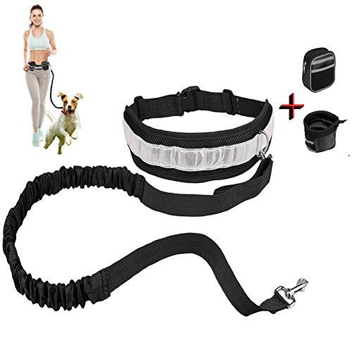 Correa de perro, Manos libres trotar caminar ajustable de Poliéster mascotas perro Collar correa La bolsa de teléfono/ corriendo cintura cinturón (Negro)