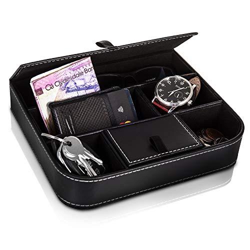 Fineway Stilvolle 6 Fächer Leder Herren-Kommode Geldbörse Karten Büro Schmuck Aufbewahrung Organizer Box - Ideal für Handys, Uhren, Geldbörsen, Münzen, Schlüssel und Schmuck Uhren