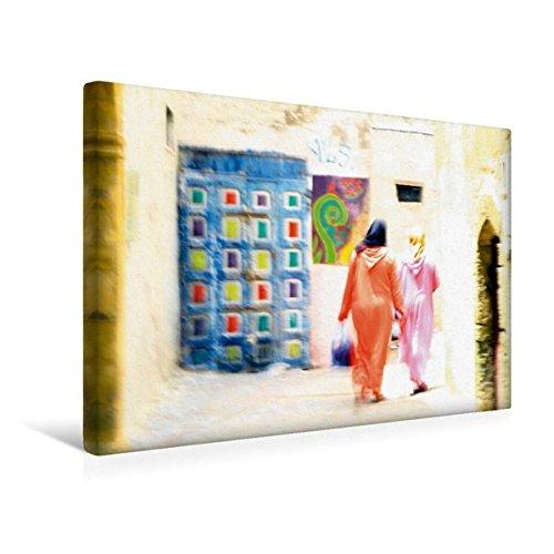 Calvendo Premium Textil-Leinwand 45 cm x 30 cm Quer, Essaouira   Wandbild, Bild auf Keilrahmen, Fertigbild auf Echter Leinwand, Leinwanddruck: Frauen in Tracht in den Gassen von Essaouira Orte ()