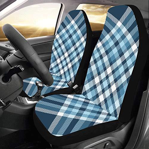 Blau Tartan Plaid Muster Stil Benutzerdefinierte Neue Universal Fit Auto Drive Autositzbezüge Schutz Für Frauen Automobil Jeep Lkw Suv Fahrzeug Full Set Zubehör Für Erwachsene Baby (set Von 2 Vorne) -