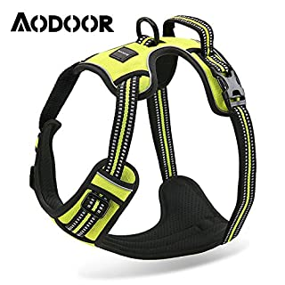 Aodoor Soft Dog Harness No-Pull Pet Vest with Handle Reflective Lightweight Walking Harness Padded Vest Sports Soft Inner Padded Dog Harness M Green