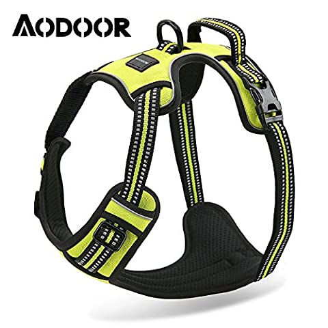 Aodoor Soft Dog Harness No-Pull Pet Vest with Handle Reflective Lightweight Walking Harness Padded Vest Sports Soft Inner Padded Dog Pulling Harness S