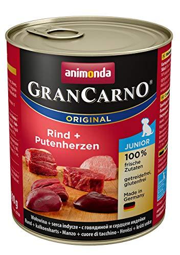 Animonda GranCarno Hundefutter Junior, Nassfutter für Hunde im Wachstum, Rind und Putenherzen, 6er Pack (6 x 800g)