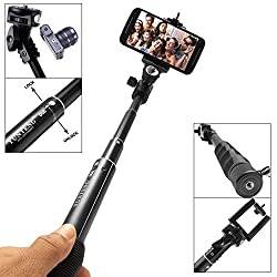 DMG Extendable handheld Yunteng YT-008 Adjustable Self Portrait Yunteng Selfie Stick Monopod for Camera and iPhone, Smartphones with Bluetooth Clicker (BLACK)