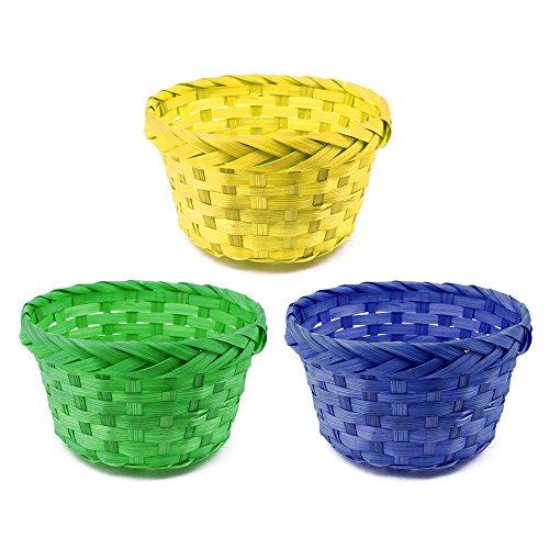 (com-four® 3X Bastkörbe, Deko- & Geschenk-Set für Ostern, Klassische Bunte Bastkörbe in Verschiedenen Farben, Ø 19 cm (03 Stück Korb - gelb/grün/blau))