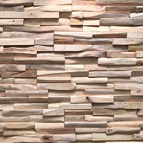 3D Holzpaneele / Holzverblender - Wandpaneele Holz für Wand - Ultrawood Wandverkleidung Innen - Haus, Wohnzimmer, Bett, TV usw. (Teak Benevento)