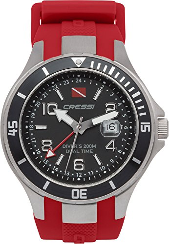 Cressi Traveller Dual Time-Diving Watch Taucheruhr, Silber/Schwarz/Rot, One Size