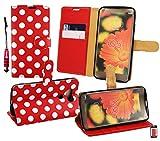 Emartbuy® Eingabestift Packfür LG G5 Metallic Mini Rot Eingabestift + Brieftaschen Brieftasche Etui Hülle Case Cover aus PU Leder Polka Dots Rot Weiß mit Kreditkartenfächern + LCD Displayschutz
