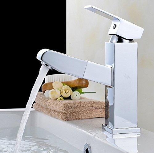 AMZH Ausziehbarer Hahn-Messing-Badezimmer-Waschbecken-Einloch-Bassin-Hahn Heißer und kalter teleskopischer Schwenkwannen-Hahn mit Wasserschlauch , B