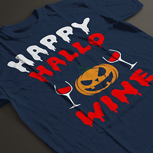 Happy Hallowine Women's T-Shirt Navy Blue