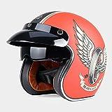 YGFS Retro Motorradhalbhelm Erwachsene Harley Unisex Versteckte Linse 3/4 Offene Motorradhelm Dot...
