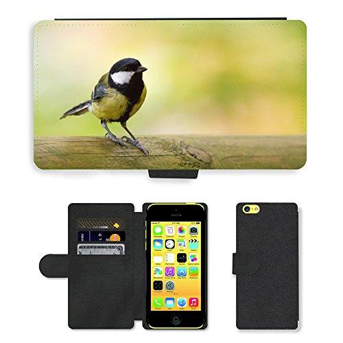 Just Mobile pour Hot Style Téléphone portable étui portefeuille en cuir PU avec fente pour carte//m00138156Mésange bleue Oiseau Animaux Nature Petit Oiseau//Apple iPhone 5C
