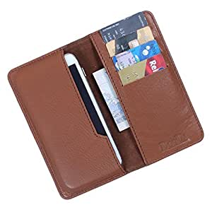 i-KitPit Genuine Leather Flip Pouch Case For Alcatel Idol X (TAN BROWN)