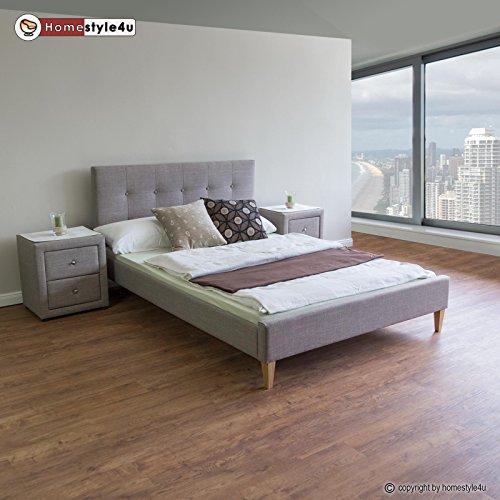 Homestyle4u 1736 Polsterbett 180 x 200 Doppelbett Stoffbett Bettgestell mit Rückenlehne & Lattenrost Bett Grau (Stoff Designer Schubladen)