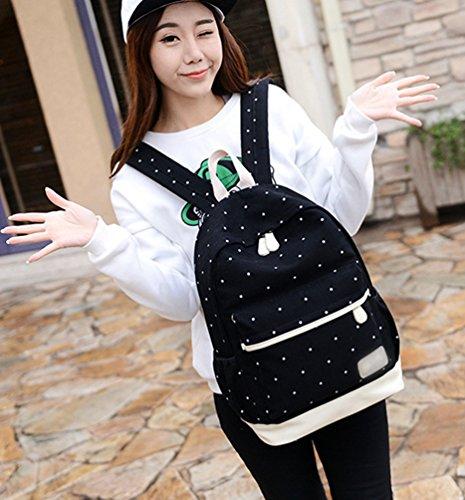 Sentao Donna Punto Zaino Casual Scuola Set 3pcs Daypacks / Tela Zaini Ragazza / Messenger Bag/Portafoglio Nero