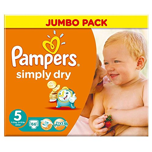 Preisvergleich Produktbild Pampers Simply Dry Größe 5 Junior 11-25kg (66) - Packung mit 2