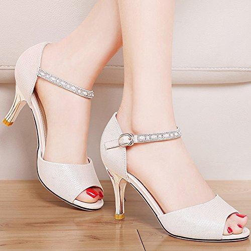 Estate moda donna sandali comodi tacchi alti,37 Bianco Beige