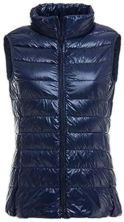 Mochoose Doudoune sans Manche Gilet Ultra Légère Veste Manteau Parka Blouson Zippée Hiver pour Femme(Bleu Marine,X-Small)