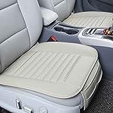 Providethebest Grau Fahrzeug Fahrzeugfront Einzelsitzabdeckung PU-Leder-Bambuskohle-Schutz Mat Kissen ohne Rückenlehne