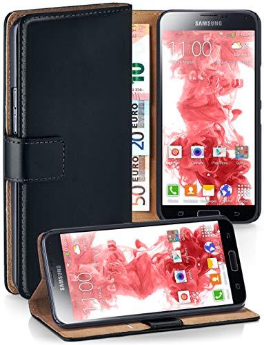 MoEx® Booklet mit Flip Funktion [360 Grad Voll-Schutz] für Samsung Galaxy S5 Mini | Geldfach und Kartenfach + Stand-Funktion und Magnet-Verschluss, Schwarz