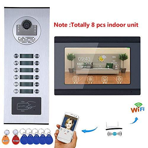 GJR-MENGLING Video-Türklingel, 7 Zoll intelligente Video-Türklingel, kabelgebundene WiFi-Telefonanlage HD 1000TVL Kamera