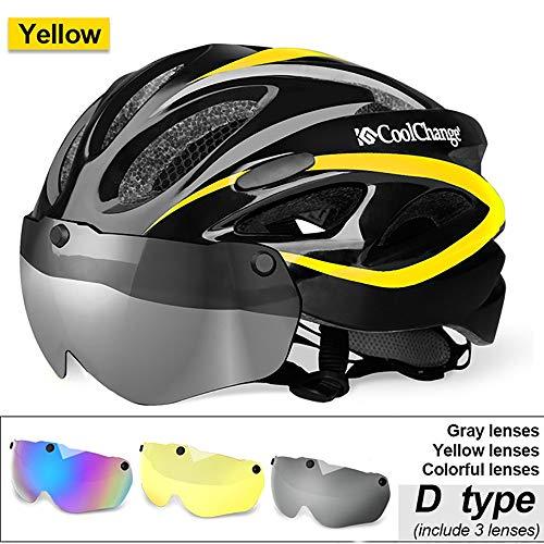 TKTTBD Ultralight Fahrradhelm,Aerodynamik Fahrradhelm mit Abnehmbarer Magnetischer Visor Shield für Männer Frauen, Erwachsene Mountain Road Fahrradhelm Einstellbarer Sicherheitsschutz