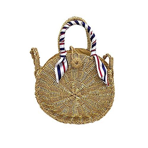 gte Bambus geflochtene Tasche für Mädchen Frauen, Sommer Strand Runde Tasche Totes Aufbewahrungstasche (Gold) ()