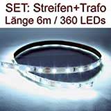 SET LED Strip Streifen WEISS 6 Meter inkl. Netzteil PCB weiss