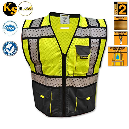 kwiksafety-high-visibility-hi-vis-waistcoat-fishbone-reflective-tape-d-ring-pass-thru-work-zip-hivis