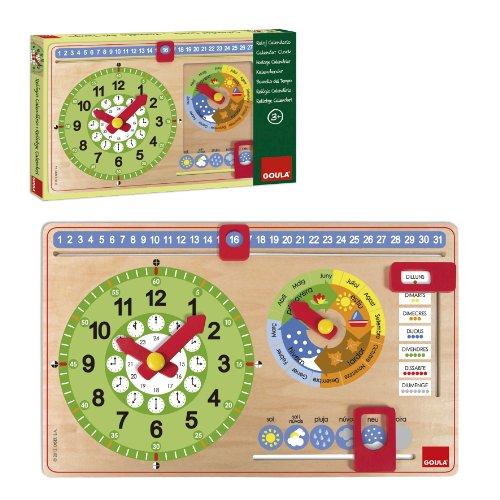 Goula 51316 Jeu éducatif Horloge et Calendrier pour Enfant (en Catalan)
